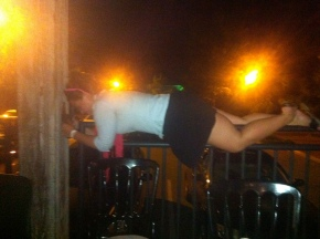 The city girl planking at the Market.